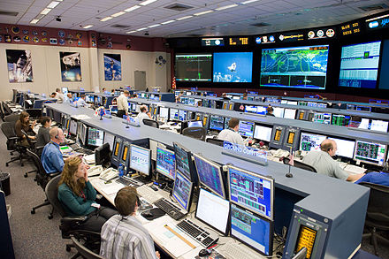 FCR 1 in 2009 during the STS-128 mission, JSC in Houston STS-128 MCC space station flight control room.jpg