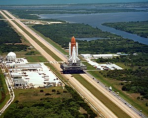 Space Shuttle Challenger - Challenger atop a Crawler-transporter, en route to the launch site for its final flight, STS-51-L