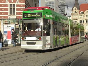 Erfurt Stadtbahn - MGT6D(E) 608 tramcar at Anger (2009).