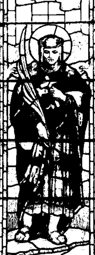 Cynog ap Brychan - Drawing of a Church Stained Glass window depicting Saint Cynog.