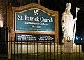 Saint Patrick Church (Columbus, Ohio) - exterior sign and statue before dawn.jpg