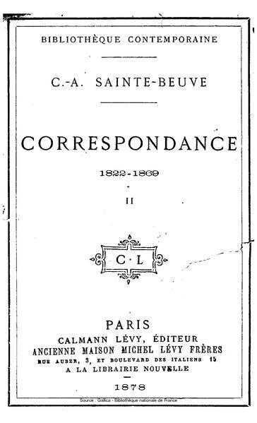 File:Sainte-Beuve - Correspondance, 1822-1869, tome 2.djvu