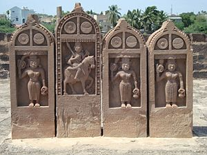 Paliya - Four Paliyas, one dedicated to man and three to women at Chhatardi, Bhuj, Kutch, Gujarat, India