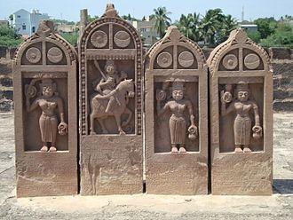 Paliya - Four Paliyas, one dedicated to man and three to women at Chhatardi, Bhuj, Kutch, Gujarat, India