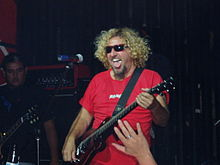 Hagar playing guitar