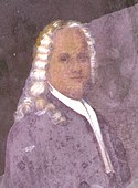 a picture of a painting of a white male with long white hair.