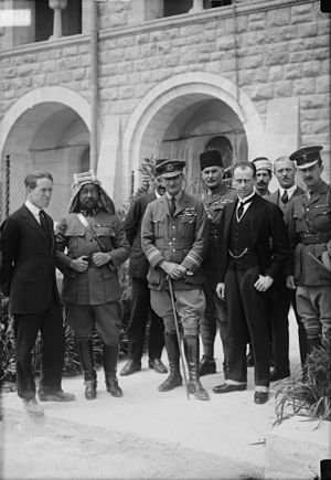 Mandatory Palestine - The arrival of Sir Herbert Samuel. From left to right: T. E. Lawrence, Emir Abdullah, Air Marshal Sir Geoffrey Salmond, Sir Herbert Samuel, Sir Wyndham Deedes and others.