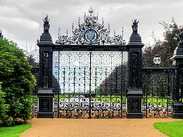 pair of large gates in black wrought iron