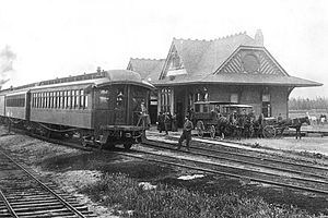 California Central Railway -  The outside the first Santa Fe Depot in Orange, California, April 23, 1891, at 186 North Atchinson Street, just off of West Chapman Avenue.