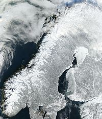 Satellite image of continental Norway in winter
