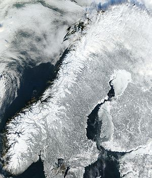 Satellite image of Norway in February 2003