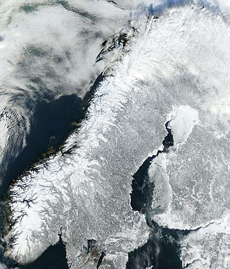 Scandinavian Mountains - The Scandinavian Mountains show clearly in this satellite photo of the Scandinavian Peninsula from February 2003