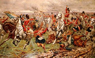 92nd (Gordon Highlanders) Regiment of Foot - Gordons and Greys to the Front, an 1898 painting by Stanley Berkeley, showing the incident at Waterloo, when the 92nd joined the charge of the Scots Greys by hanging on to their stirrups in June 1815