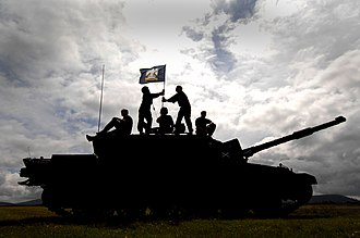 Royal Scots Dragoon Guards - The Scots Dragoon Guards raise the regimental flag on their Challenger 2