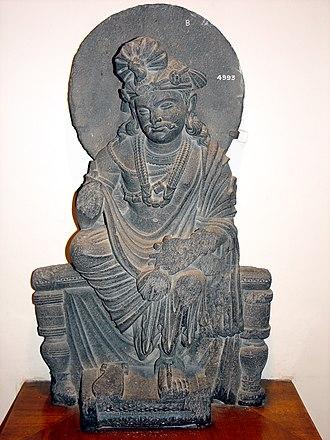Mahayana - Seated Avalokiteshvara bodhisattva. Gandharan, from Loriyan Tangai. Kushan period, 1st - 3rd century CE. Indian Museum, Calcutta.