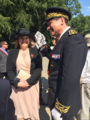 Secretary of State for Northern Ireland Karen Bradley MP represents HMG at a commemorative event at the Thiepval Memorial, laying a wreath in remembrance. (43186950732).png