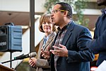 Senator Tina Smith and Representative Keith Ellison at an event in support of DACA at Hennepin County Government Center Minneapolis, MN (39562656801).jpg