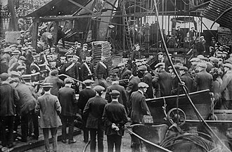 Coal dust - Crowd gathering at the pit head of the Senghenydd Colliery in October 1913 after the coal dust explosion