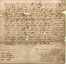 Auszug aus Shakespeares Testament von 1616 (Quelle: Wikimedia)