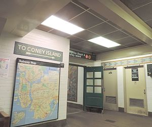 Sheepshead Bay (BMT Brighton Line) - To Coney Island stair, mosaic