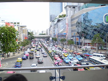 Traffic in the center of Siam, Bangkok
