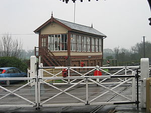 Wansford railway station - Signal Box at Wansford Station with level crossing in foreground