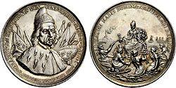 Ασημένιο μετάλλιο προς τιμή του Φραντσέσκο Μοροζίνι για να τιμηθεί για την ανακατάληψη της Πελοποννήσου.