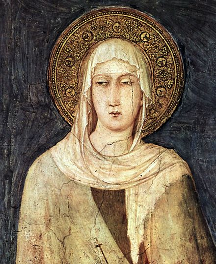 Clare of Assisi (1194-1253), founder of the Poor Clares, in a painting by Simone Martini (1284-1344) in the Basilica of San Francesco d'Assisi Simone Martini 047.jpg