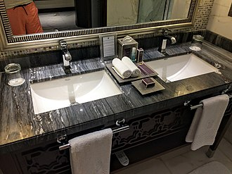 Sink - Double sink with a marble countertop