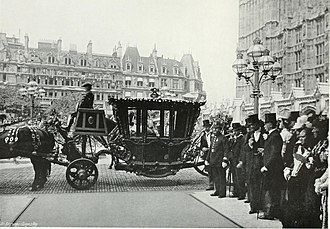 Speaker's State Coach - The coach awaiting Mr Speaker Gully, on the occasion of Queen Victoria's Diamond Jubilee in 1897.