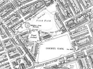 Vetch Field - An Ordnance Survey map from 1899 showing the 'Vetch Field' site.