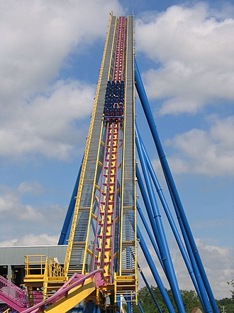 Lift hill - The lift hill of Nitro at Six Flags Great Adventure