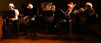 """University of Toronto Faculty of Applied Science and Engineering - Skule Brass Quintet (also known as the """"Brass Ring""""), during a concert at Knox College, led by Malcolm McGrath"""