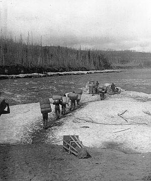 Slave River - Portaging along the Slave River in 1900