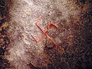 Swastika (Germanic Iron Age) - The swastika on the Snoldelev Stone, Denmark (9th century)