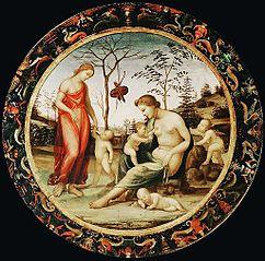 Vénus terrestre avec Éros et Vénus céleste avec Antéros et deux autres cupidons