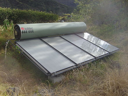 Solar energy technologies, such as solar water heaters, located on or near the buildings which they supply with energy, are a prime example of a soft energy technology. Solar heater dsc00632.jpg