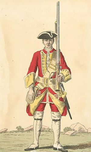 28th (North Gloucestershire) Regiment of Foot - Uniform of the 28th Regiment, 1742, with its yellow facings
