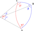 Solve spherical triangle with c a beta.png
