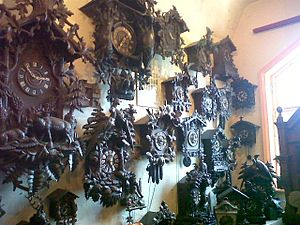 Cuckooland Museum - Some of the clocks displayed at the cuckooland museum.