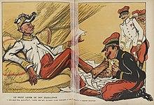 Desenho a cores de um oficial beijando o pé do General André - deitado lascivamente em um sofá - e colocando uma pasta no chão.