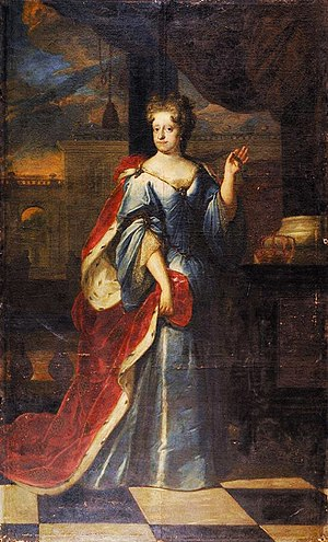 Sophie Amalie of Brunswick-Lüneburg - Portrait of Sophie Amalie as queen by an unidentified artist, c. 17th century