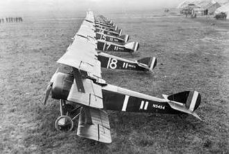 Royal Naval Air Service - Sopwith Triplanes from No. 1 (Naval) Squadron, in Bailleul, France. The aircraft nearest the camera (N5454) was primarily flown by ace Richard Minifie