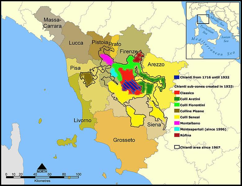 Kuchnia Toskanii. Chianti - okręgi produkcji wina