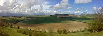 South Downs - The dip slope of the South Downs, as seen from Angmering Park Estate near Arundel (panoramic view).