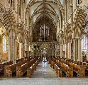 Southwell Minster - Pulpitum and choir, looking west to the nave