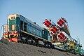 Soyuz TMA-10M spacecraft roll out by train (7).jpg