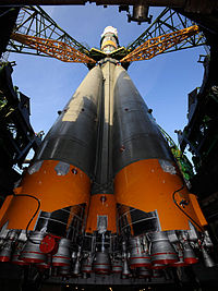 Soyuz TMA-13 erected at Baikonur Cosmodrome launch pad.jpg