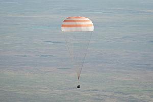 Soyuz TMA-20 - The Soyuz TMA-20 capsule descends toward landing.