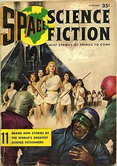 Cover shows four women in short gowns holding spiked poles and facing three men in helmets, one of whom has turned away with his hand on his chest. There are more women standing near a rocket in the background.